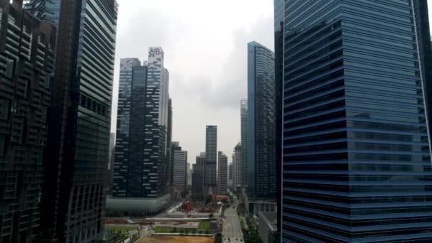 Singapur - 25 září 2018: letecký pohled na moderní obchodní budovy. Obchodní centrum města mrakodrap výhledem. Moderní mrakodrapy v centru