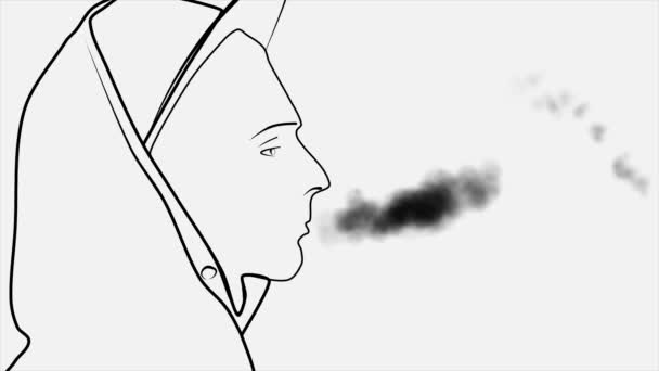 Silhouette Of An Abstract Young Man In Cap And Hood With Cigarette Smoking And Blowing Smoke From His Mouth Young Teenager Smoker In Profile Isolated On White Background Stock Video C