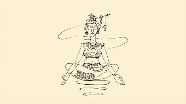Abstraktní, letící nahoru a dolů Buddhy v lotosové pozici na béžové pozadí. Linka ilustrace rozlet Buddha, buddhismus náboženství, wellness, jóga koncepce