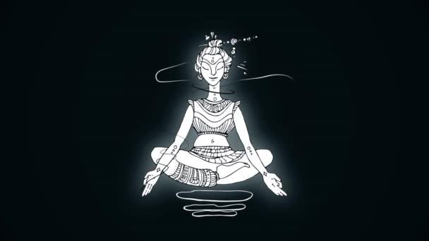 Bílá animovaný obrázek jogína na tmavém pozadí v lotosové pozici. Meditaci a relaxaci.
