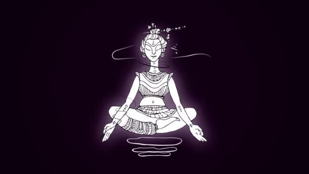 Bílá animovaný obrázek jogína na tmavě fialovém pozadí v lotosové pozici. Meditaci a relaxaci