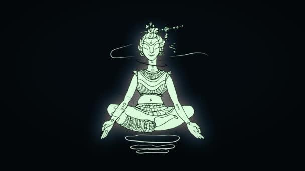 Animation of meditation of yogi man in Lotus position. Black background.