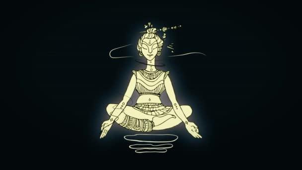 Animace, meditace nažloutlé yogi člověka v lotosové pozici. Černé pozadí