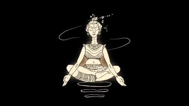 Abstraktní, zářící, letící nahoru a dolů Buddhy v lotosové pozici na černém pozadí. Linka ilustrace rozlet Buddha, buddhismus náboženství, wellness, jóga koncepce