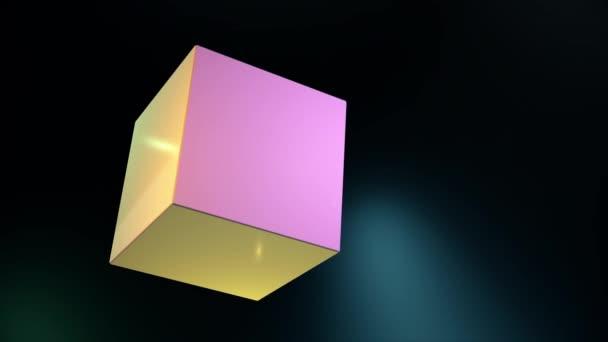 Absztrakt 3d kocka, forgatható és a változó színek, az arcok, elszigetelt fekete háttér színes fények, varrat nélküli hurok. Geometriai animáció 3d kocka formájú és kerek, forgó blur fény.