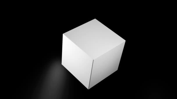 abstrakt, 3D, rotierender Monochrom-Würfel, isoliert auf schwarzem Hintergrund mit weißem Licht, nahtlose Schleife. geometrische, schwarz-weiße Animation mit rotierenden 3D-Formen Würfel und runden, unscharfen Lichtern.