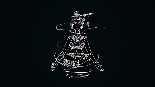 Animation of meditating woman on black background  Drawing of white lines  of Indian woman levitating in lotus position on black background  Abstract  animation of yoga and meditation