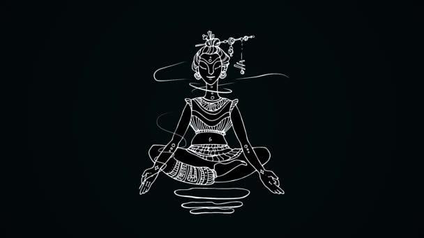 Animace, meditující ženy na černém pozadí. Kresba z bílých čar indiánka vznášející se v lotosové pozici na černém pozadí. Abstraktní animace, jóga a meditace