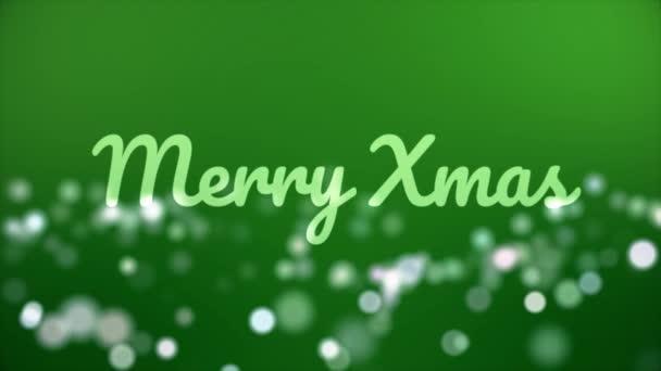 Frohe Weihnachten. Weihnachtsanimation mit Grußbeschriftung, Bokeh-Effekt und grünem Hintergrund. abstrakte Weihnachtshintergrundanimation