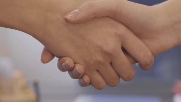 Closeup handshake na pozadí úřadu. Dobrý obchod zabezpečen partnerství s handshake. Dva kolegové handshaking procesu