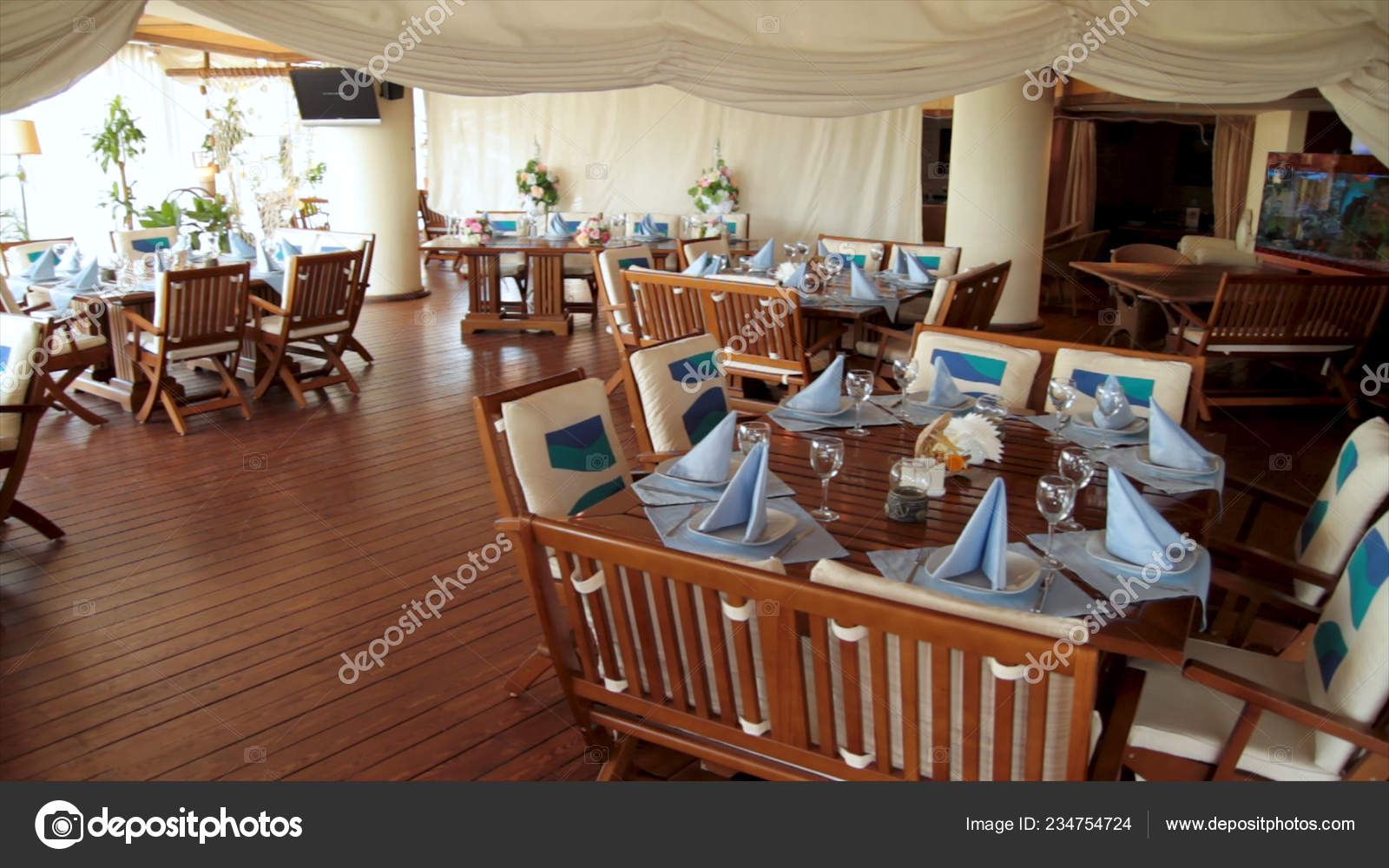 New And Clean Luxury Restaurant In European Style Scene Typical Summer Outdoor Cafe Tables And Chairs