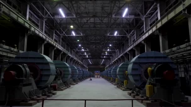 Industrial workshop or hangar on production of ventilation systems. Metalworking factory abstract background with lots of equipment and machinery. Factory or hangar equipment background
