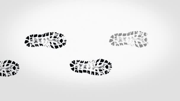 Absztrakt fekete lábnyomok csizma bézs háttérrel, varrat nélküli hurok. Sok sötét lép, fény megjelenő barna háttér.