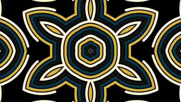 Krásné abstraktní surreality vzorek, kaleidoskop geometrického stylu na černém pozadí, bezešvé smyčka. Rychlá změna zlaté, zelené a béžové postavy hypnotické kaleidoskop