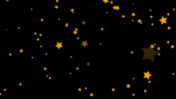 Animation of abstract, golden five-pointed, green, colorful stars falling on black background. Small, orange stars confetti falling chaotically, seamless loop.
