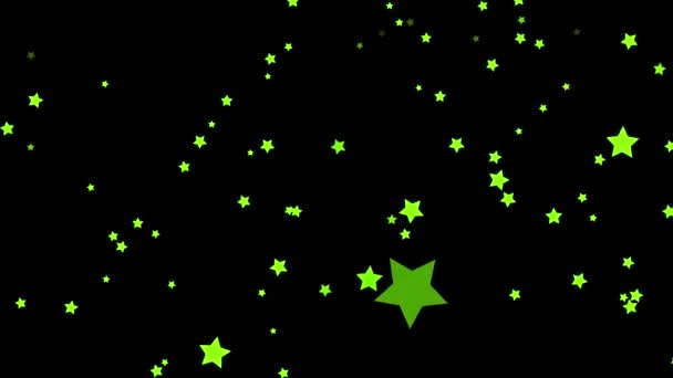 Animation of abstract, green, five-pointed, green, colorful stars falling on black background. Small stars confetti falling chaotically, seamless loop.