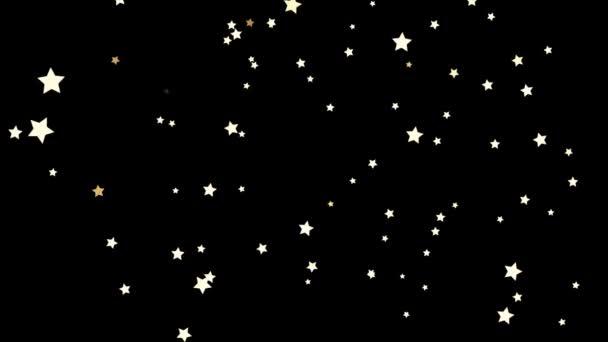 Krásné, bílé padající hvězdy zdola nahoru na černém pozadí, bezešvé smyčka. Malé, pět špičaté hvězdy letící nahoru chaoticky, černobílý tisk, děti kreslené, anime koncept.