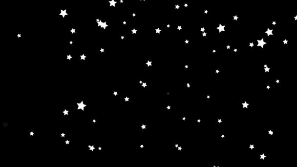 Shiny, white stars moving upwards endlessly on black background, kids cartoon. Small, beautiful stars flying from bottom to top, monochrome, seamless loop.