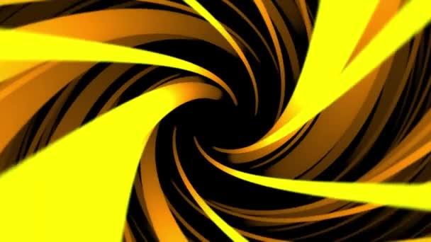 Abstraktní pozadí animace rotujícího světlé šroubovice s širokou žlutou kroucení řádky. Abstraktní vířící barevné nálevka, bezešvé smyčka