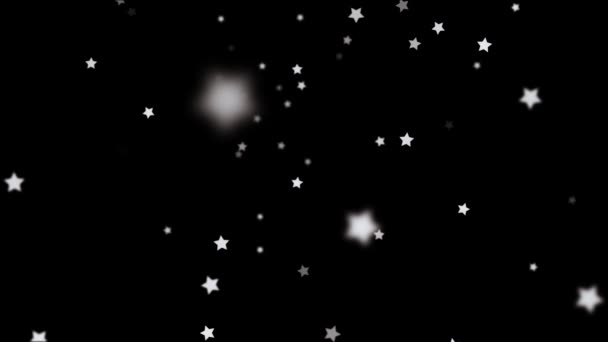 Falling Stars cartoon over black background very easy to use them over your videos using alpha channel, stars rain effect, christmas and celebration concept
