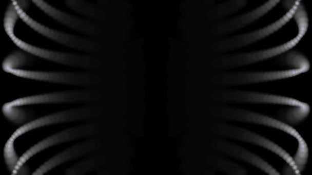 Abstraktní, malé, bílé tečky v pohybu na černém pozadí, bezešvé smyčka. Digitální, černobílé, zářící částice pohybovat v řádcích v oblouku