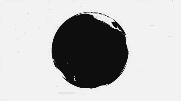 Abstraktní animaci rotující černé a bílé Earth zeměkoule silueta na bílém pozadí s pohyblivými šedé částice. Bezešvá smyčka.