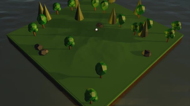 3D model of a green park with a place for picnic by the fire on grey background. Abstract graphic design, volume illustration of a green meadow with trees.