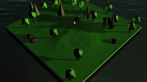 Abstrakce ostrova izometrické animace s stromy, kameny a táborák obklopený vodou. Počítačová hra