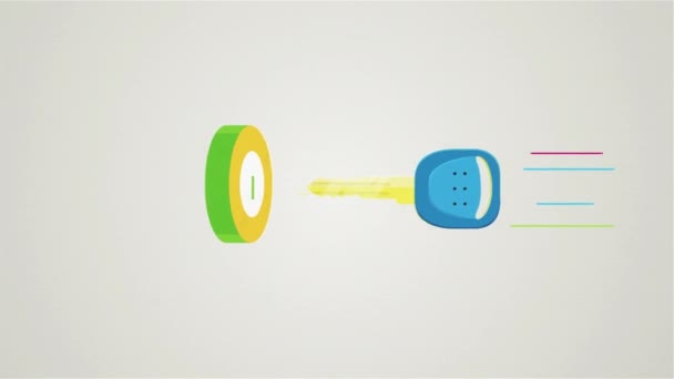 Cartoon animation with a key being inserted and turned in the lock, safety concept. Close up for an abstract key being put into keyhole on white background.