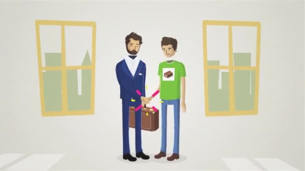 Zeichentrickanimation der Männer, die sich in der Wohnung vor den Fenstern die Hände schütteln und ein Dealkonzept schmieden. Händeschütteln zwischen Geschäftsmann mit Koffer und Teenager.