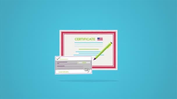 Zblízka se pro osvědčení s razítkem a podpisem pro odměňování. Certifikát s vlajkou Usa a šek na modrém pozadí.
