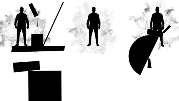 Black man silhouettes moving geometrical figures on white background. Suprematism art style with three abstract men in action, monochrome.