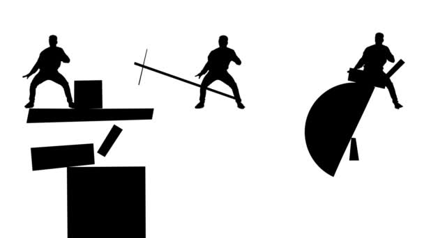 Black man silhouettes dancing among geometrical figures on white background. Suprematism art style with three abstract men in action, monochrome.