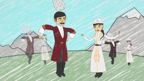 Cartoon animation with armenian men and women in national clothes dancing lezghinka in front of mountains. People moving in armenian dance and then turning into eagles and swans and fly away.