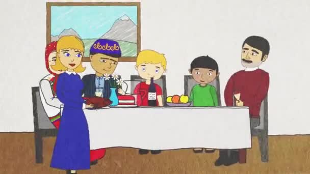 Cartoon animation with people of different nationalities and religions having a dinner together, tolerance concept. Abstract men, women and children of different races eat and drink together.