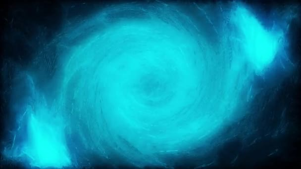 Abstract blue water tornado, view from the top of the vortex on dark background. Abstract water swirl flowing, seamless loop.