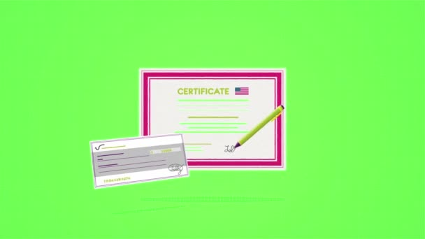 Abstract animation of diploma certificate school success on a green background. Success concept.