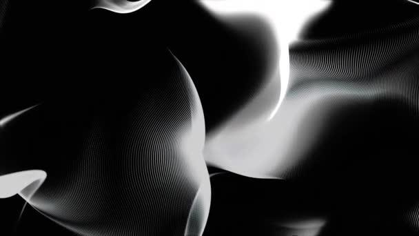 Absztrakt fekete-fehér háttér, hullám vagy fátyol textúra. Puha, absztrakt, fekete-fehér hullám úszó lassan, varrat nélküli hurok.