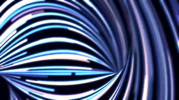 Absztrakt háttér animációs áramló kék, lila, fehér vonalak, a fekete háttér. Gyönyörű absztrakt mozgása keskeny, neon vonalak, varrat nélküli hurok.