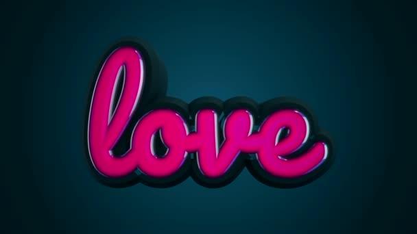 Abstraktní animace 3d růžový lesklý Love nápis na tmavě modrém pozadí. Láska koncept.
