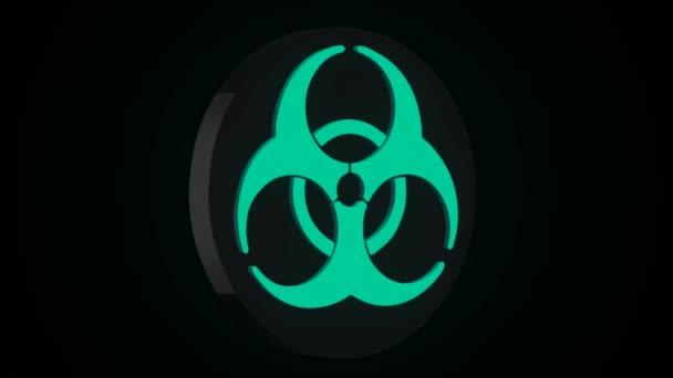 Strahlung Biohazard Tod Quarantäne. Setzen Sie Zeichen. Schwarzer Hintergrund. Radioaktiven Symbol design