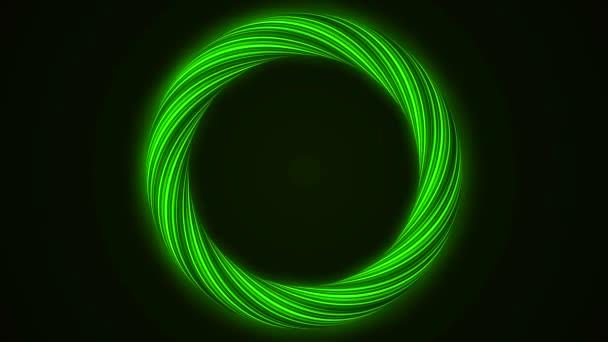 abstrakte Rotation Engelsflügel Ring Hintergrund. abstrakte nahtlose Schleife Hintergrund grün leuchtend wirbelnden glühenden Kreis