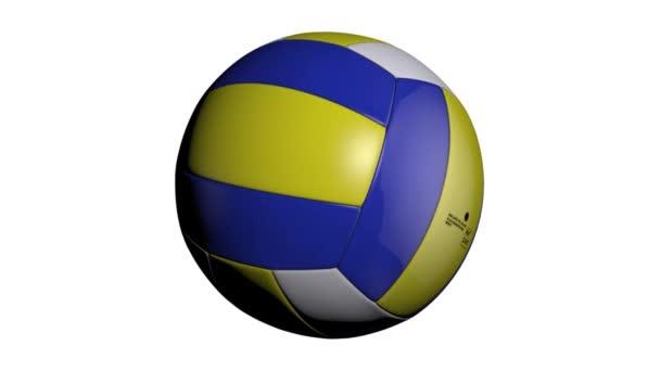 Smyčka schopný animace volejbalový míč točí na bílém pozadí