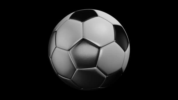 Fotbalové animace fotbalového míče s na černém pozadí s odrazivostí na černém pozadí. Fotbalový míč pozadí