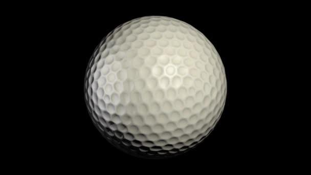Spinning golfový míček na černém pozadí animace. Golfové míče spin smyčka