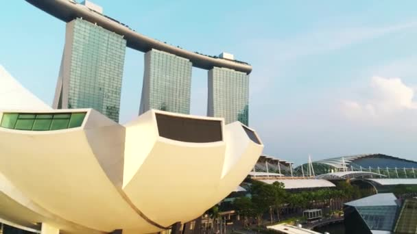 Aerial view of Marina Bay Sands Singapore. Shot. Aerial view of Singapore City Skyline with Marina Bay Sands