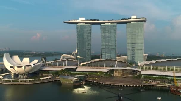 Aerial view of Marina Bay Sands revealing Singapore City Skyline. Shot. Marina Bay Sands Singapore from aerial flying drone point of view