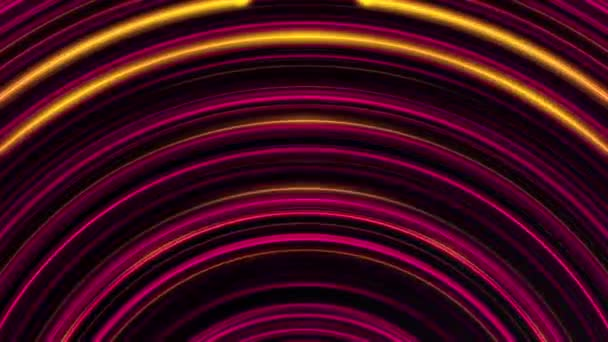 Animazione dei cerchi al neon rosa e giallo astratto spostando e luccicanti su uno sfondo scuro. Animazione colorata.