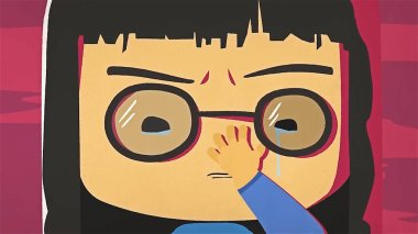 Cartoon cute girl portrait crying and whiping her tears by her hand. Asian stressed anime girl with glasses feeling sad and crying, negative emotions concept.