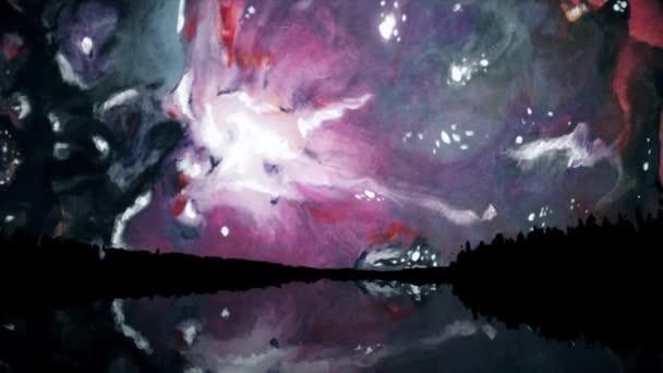 Vícebarevné Malování ve zpomaleném filmu. Fantastický abstraktní barevné barvy.